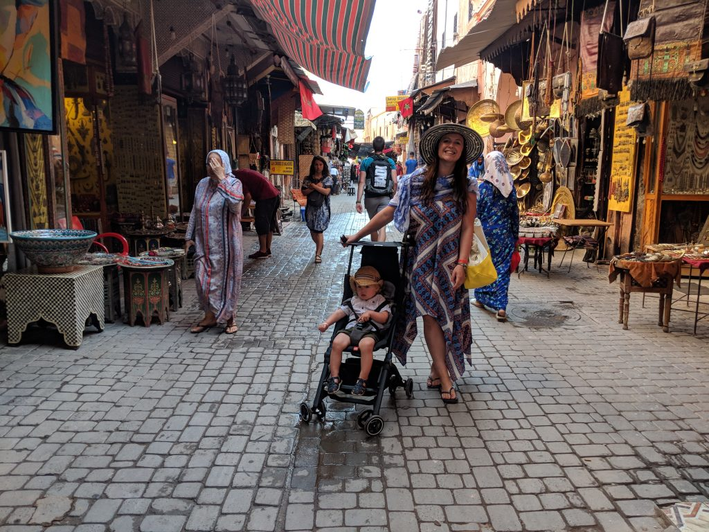 Marrakech with baby travel pram