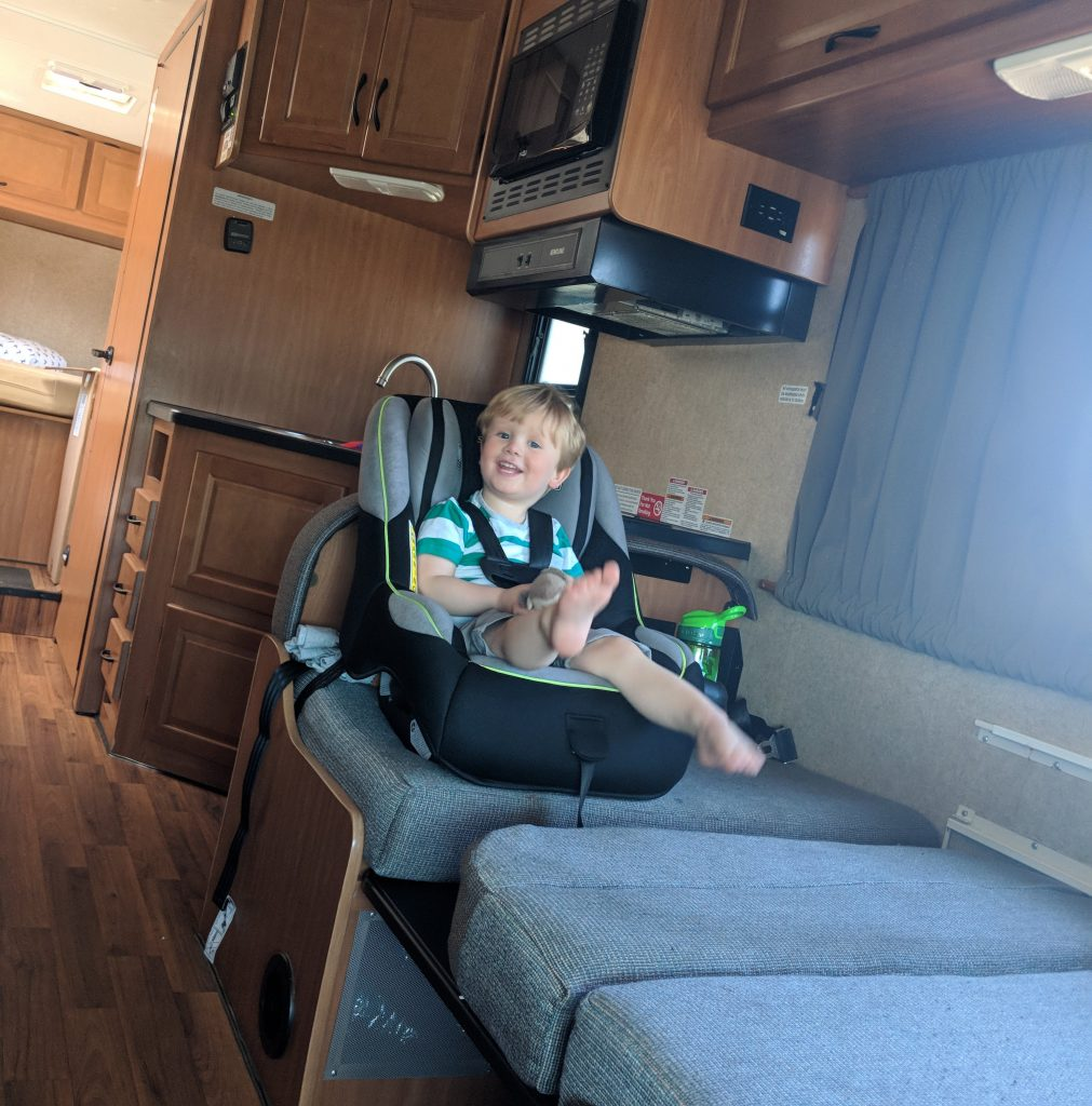 Cruise America RV rental Portland San Francisco west coast road trip child car seat