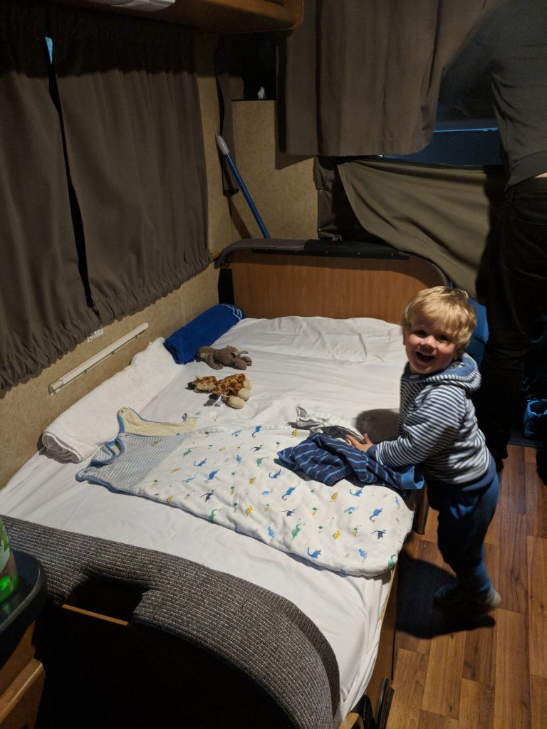 Cruise America RV rental Portland San Francisco west coast road trip child sleeping toddler