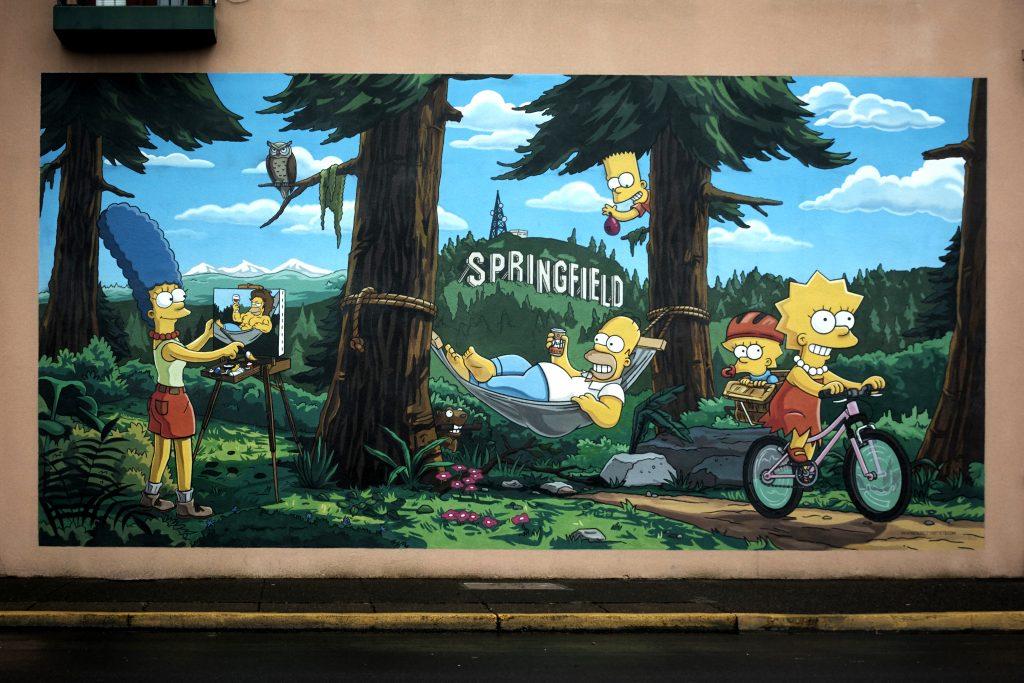 Simpsons Mural Springfield oregon two-week US west coast road trip Oregon RV